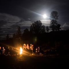 Moonlit fire